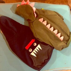 Monster and dinosaur dog costumes and hats